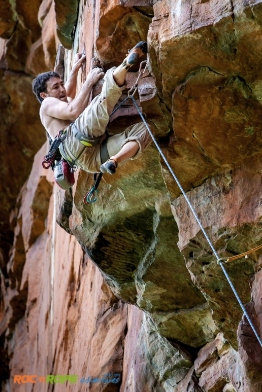 Climbing Karfoefeling in Boven. Photo by Gustav!