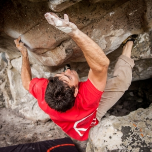 Trying to hit the crux hold / finish hold on Mintberry. Photo by Jono Joseph.