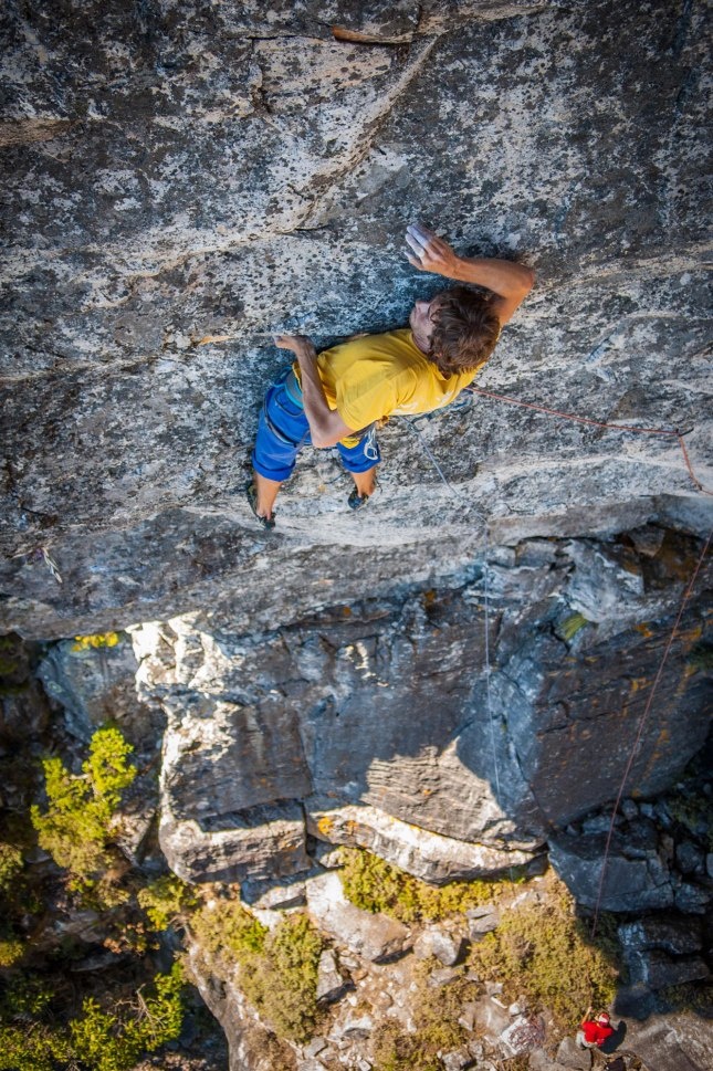 Squeaky getting bendy on Jeopardy (7c+ trad)! Photo by Jono Joseph
