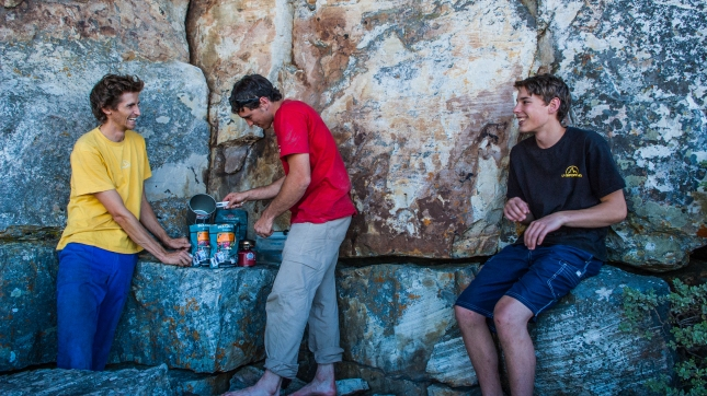 Lunch on TM after a hard morning on Triple Jeopardy (8a+ trad). Photo by Jono Joseph.