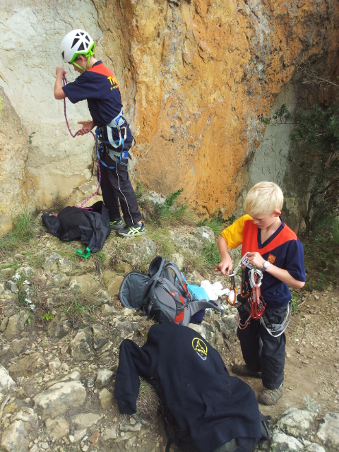The boys at their first climb of the day, Platypus (17)
