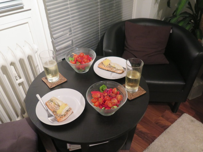 Dinner!!! Salmon with Camembert!! Yum!