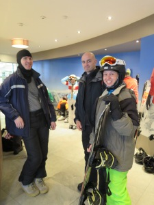 Yvette getting ready for her first snowboarding lesson