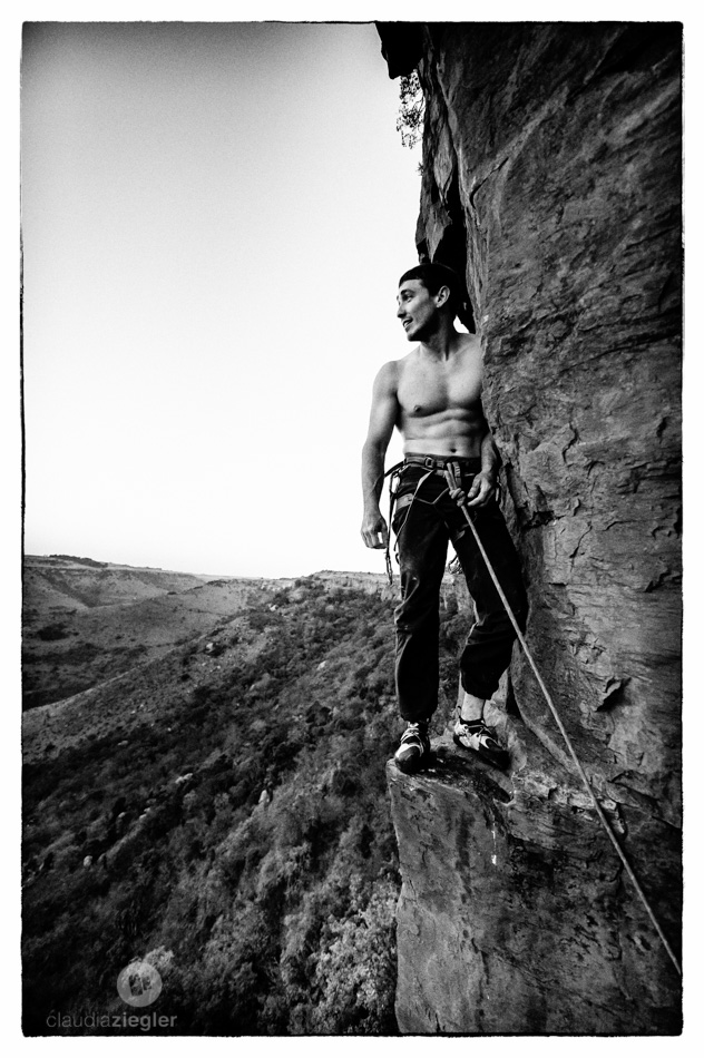 Taking a step back and enjoying the view from the top of Sheer Force -- Photo by Claudia Ziegler
